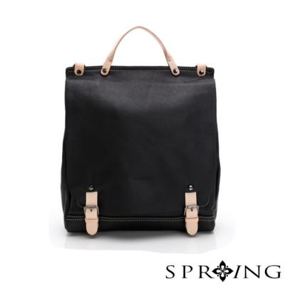 SPRING-經典牛皮3WAY包-經典黑