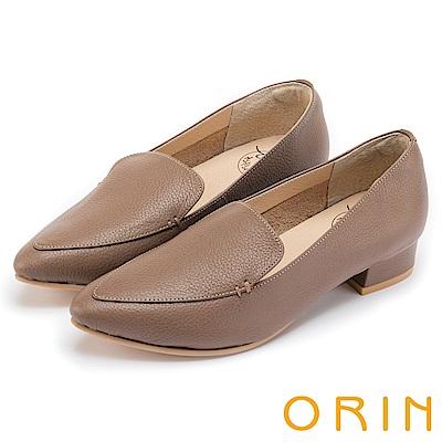 ORIN 復刻經典 質感牛皮尖頭樂福低跟鞋-可可