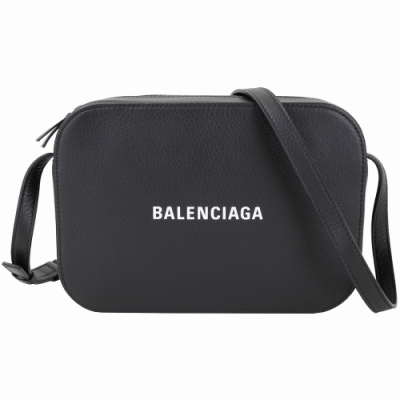 BALENCIAGA EVERYDAY 品牌字母小牛皮相機包(黑色)