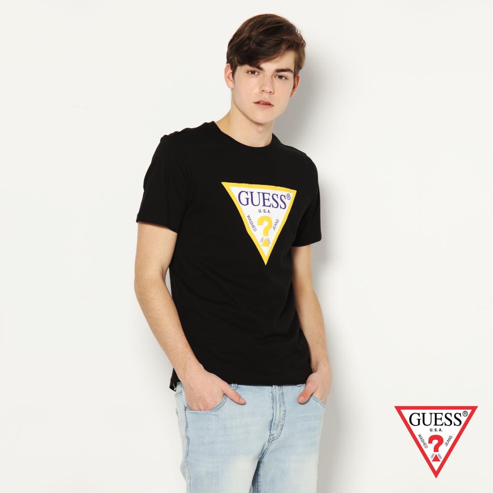 GUESS-男裝-撞色經典倒三角logo短T,T恤-黑