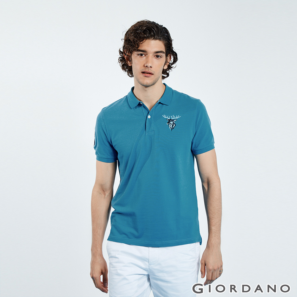 GIORDANO 男裝麋鹿漸層刺繡短袖POLO衫-43 雪花月亮藍