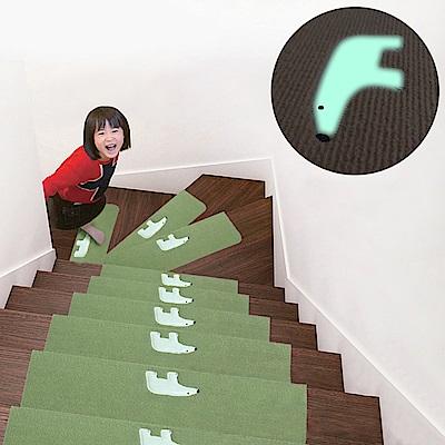 半島良品 加長版夜光樓梯止滑墊5入 小白熊-綠色