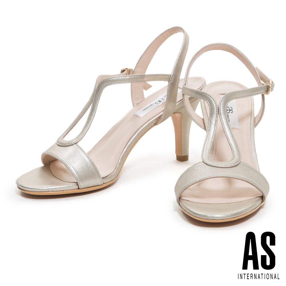 涼鞋 AS 優雅時尚性感繫帶全真皮高跟涼鞋-金