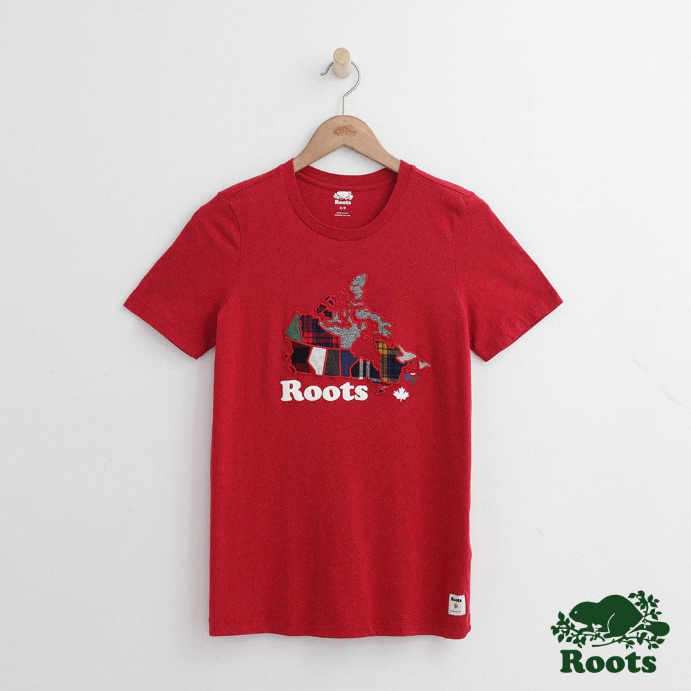 Roots -女裝- 彩格加拿大短袖T恤 - 紅