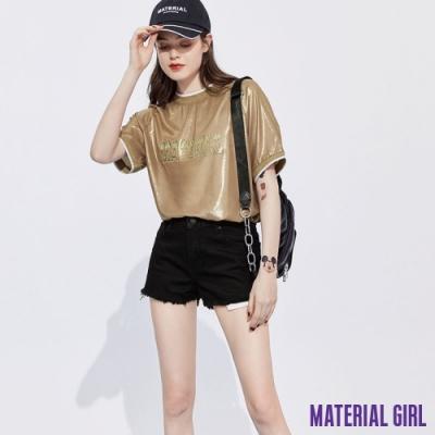 MATERIAL GIRL 貝殼光質感寬鬆半袖上衣-logo印花連袖設計 【92202】