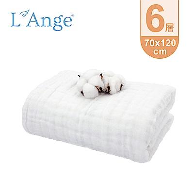 L'Ange 棉之境 6層純棉紗布浴巾/蓋毯 70x120cm-白色