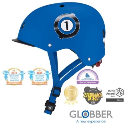 法國 GLOBBER哥輪步 ELITE 附三段警示燈 兒童戶外活動/運動防護安全帽XS~S-賽車藍