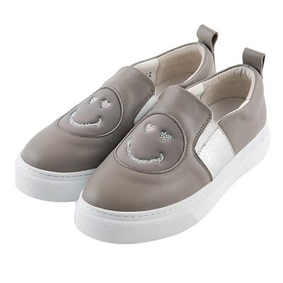 BESO 愛戀笑臉 異材質拼接鬆緊帶懶人鞋~灰