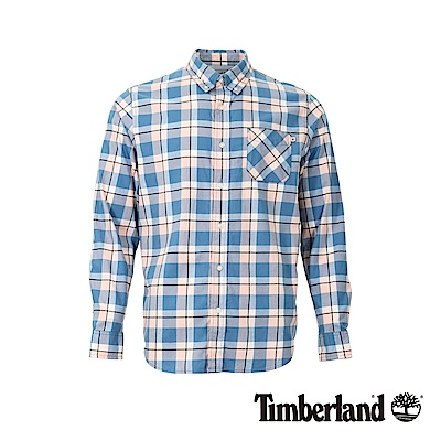 Timberland 男款海洋藍色織法蘭絨格紋修身長袖襯衫|A1WPR