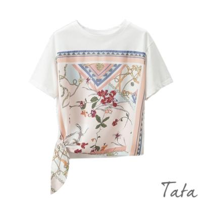 綢緞綁帶拼接印花上衣 TATA