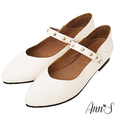 Ann'S神級多穿5way瑪莉珍鉚釘真皮平底鞋-白