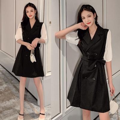 【韓國K.W.】好評加碼甜美時尚復古雙排扣收腰綁帶洋裝-2色