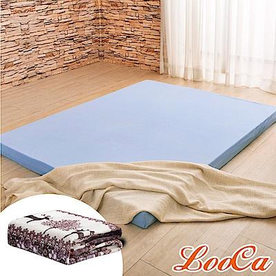 (福氣超值組)LooCa 綠能護背8cm減壓床墊-雙人5尺 搭吸濕排汗表布