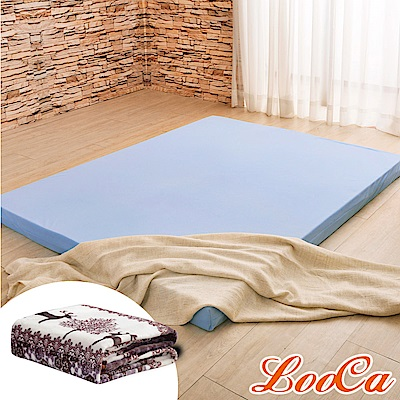 (福氣超值組)LooCa 綠能護背8cm減壓床墊-加大6尺 搭吸濕排汗表布 @ Y!購物