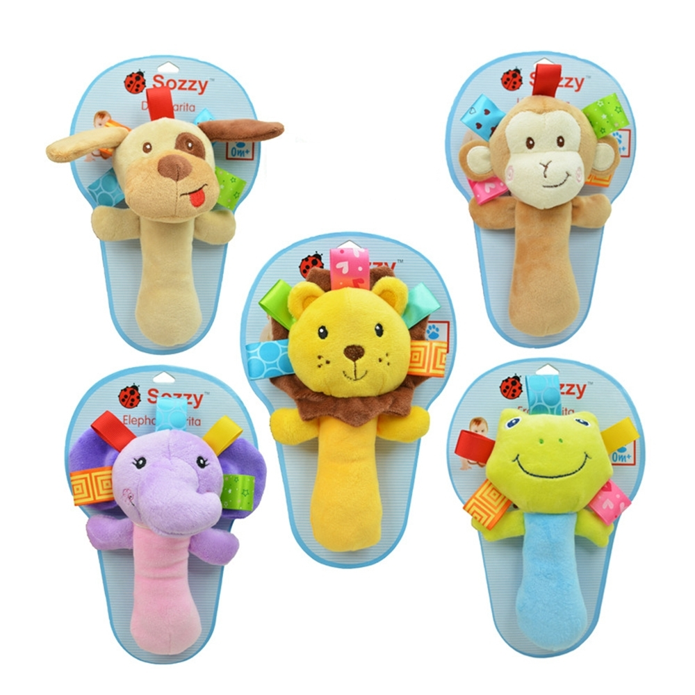 colorland【2入】嬰兒動物手搖鈴聲響安撫玩具