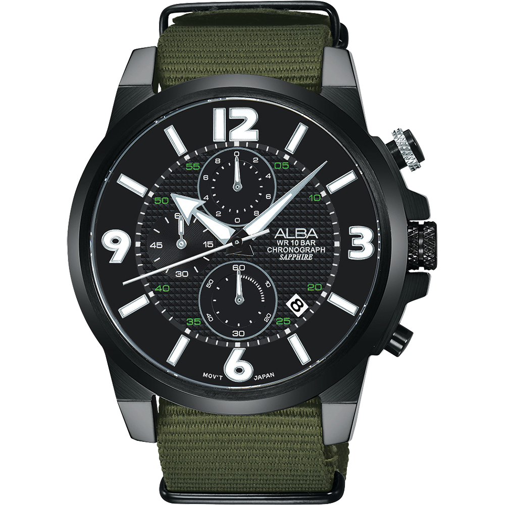 ALBA ACTIVER 系列活力運動計時腕錶(AM3401X1)-黑x綠/44mm