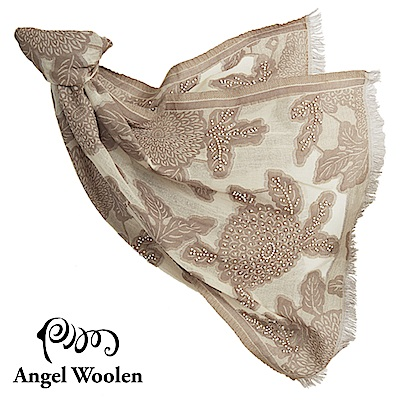 【Angel Woolen】采逸印度手工串珠羊毛披肩-淺駝