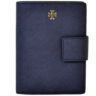 TORY BURCH 經典立體LOGO防刮皮革釦式多夾層護照夾-藏藍色