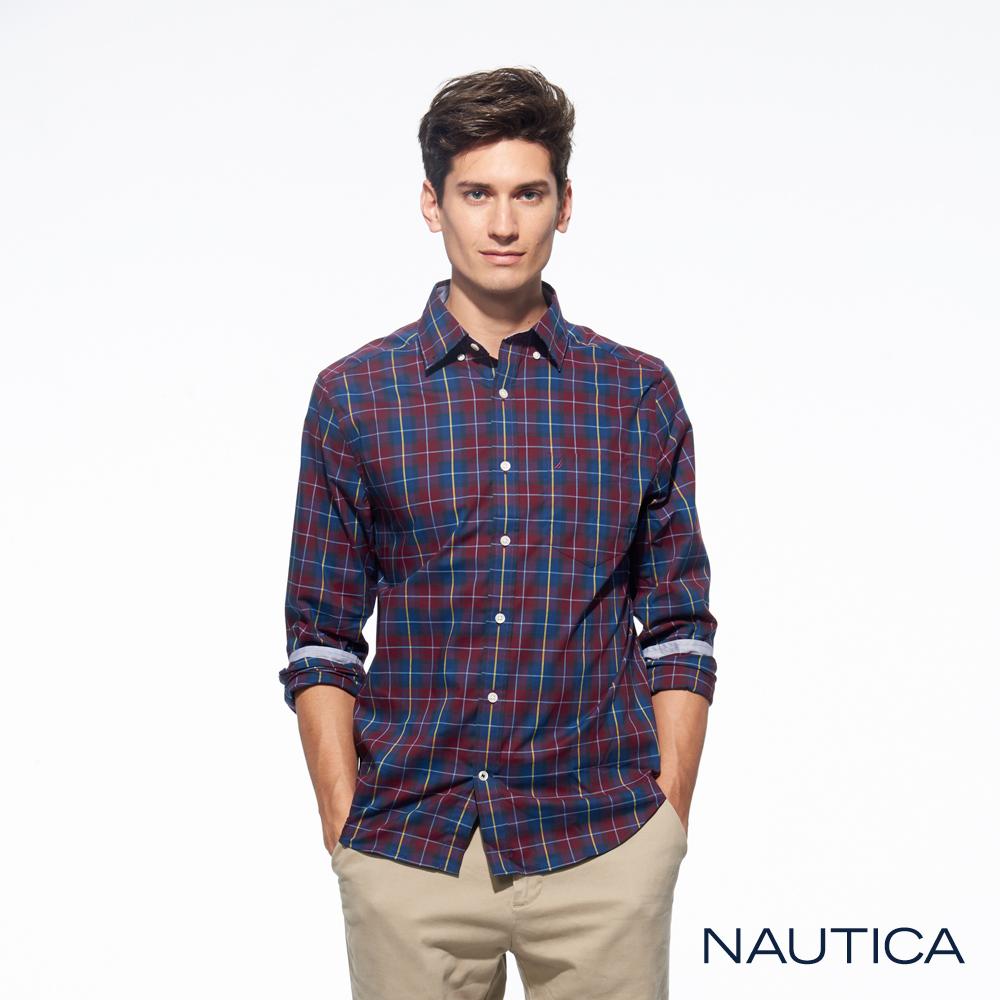 Nautica經典紅藍格紋長袖襯衫