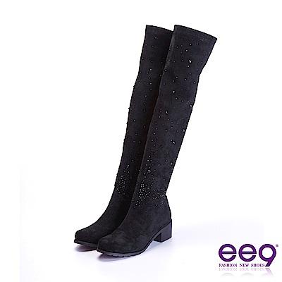 ee9 質感簡約鑲嵌水鑽星光閃耀粗跟膝上靴 黑色