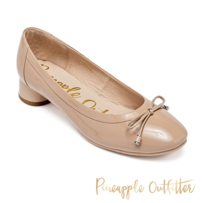 Pineapple Outfitter 氣質優雅蝴蝶結鏡面中跟鞋-鏡粉色
