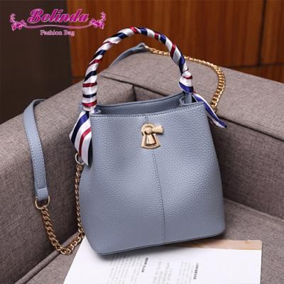 【Belinda】奧波萊荔枝紋絲巾轉扣手提側背水桶包(藍色)