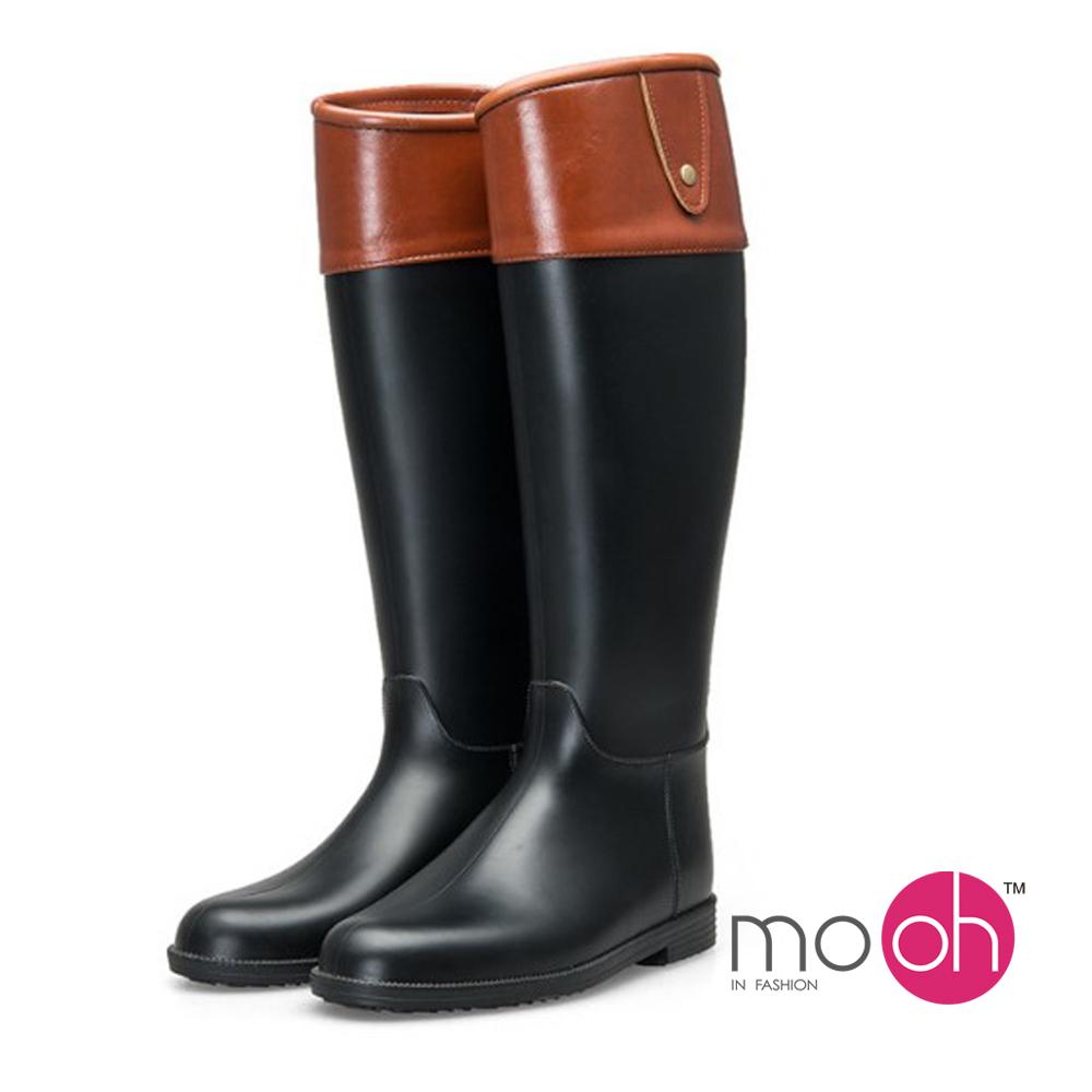 mo.oh-.皮紋斜口顯瘦質感拼色長筒雨靴 -黑棕色