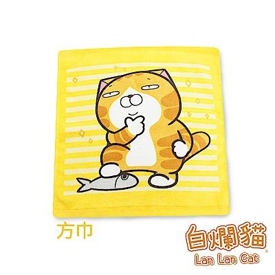 白爛貓Lan Lan Cat 臭跩貓滿版印花方巾(橫紋-低調美男子)