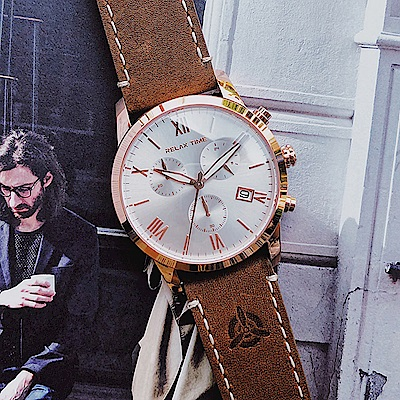 RELAX TIME RT67 飛行者計時手錶(RT-67-6)-銀x咖啡/45mm