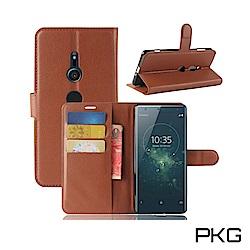 PKG SONY Xperia XZ3 側翻式-精選皮套-經典款式-棕