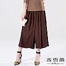 【麥雪爾】簡約雪紡假兩件寬褲裙-咖啡