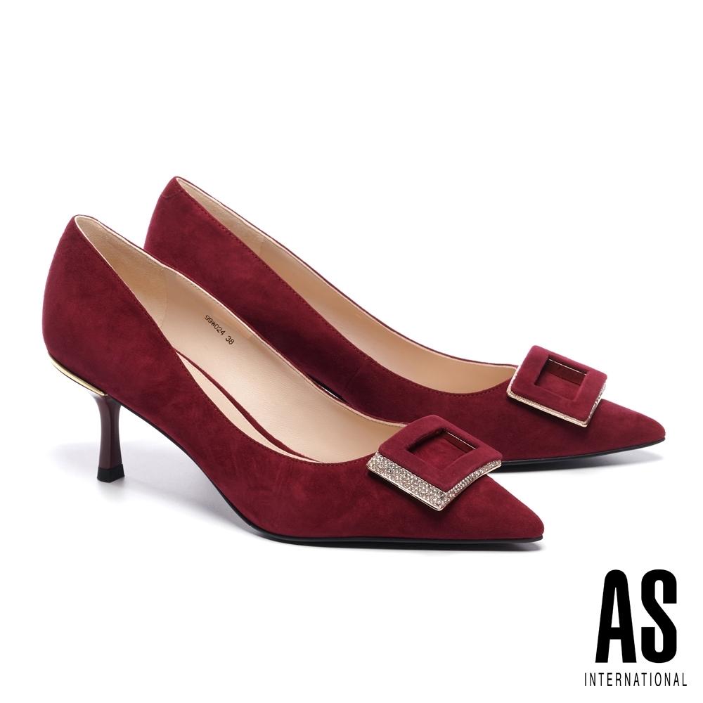 高跟鞋 AS 高貴優雅方型鑽釦羊麂皮尖頭高跟鞋-紅