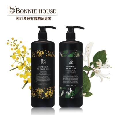 Bonnie House 忍冬精油養護洗髮精 1000ml+幸福朝露精油沐浴膠1000ml