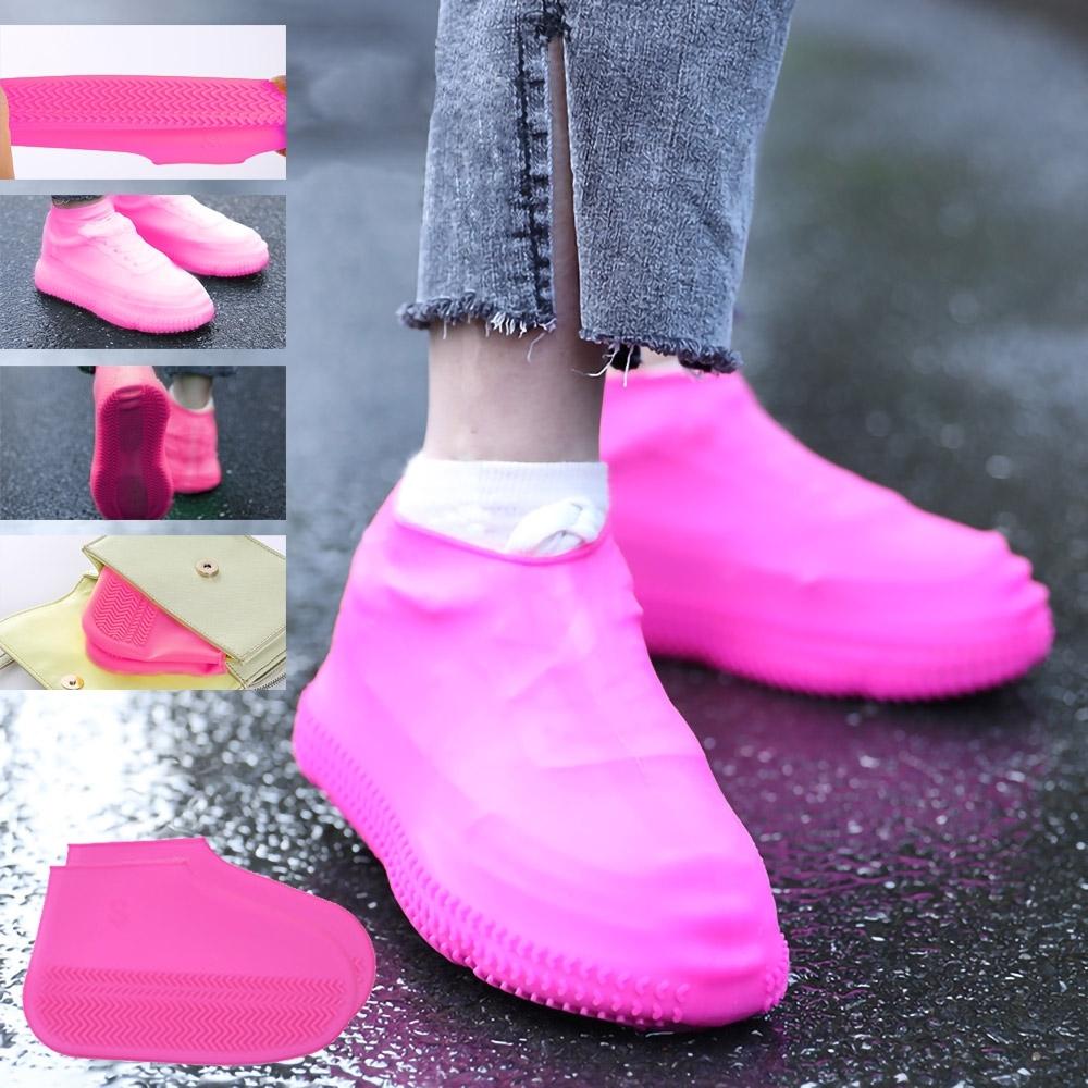 EZlife多彩防水防滑耐磨雨鞋套(玫瑰紅)