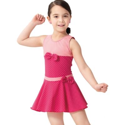 沙兒斯 兒童泳裝 紅粉配搭蝴蝶結飾連身裙式女童泳裝