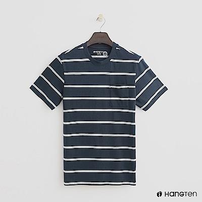Hang Ten - 男裝 - 有機棉-小口袋V領素面T恤 - 藍
