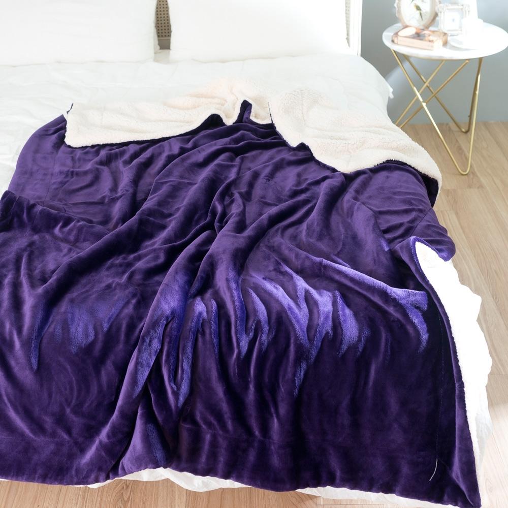 eyah宜雅 法式馬卡龍雙面加厚法蘭絨羊羔絨毯 深紫