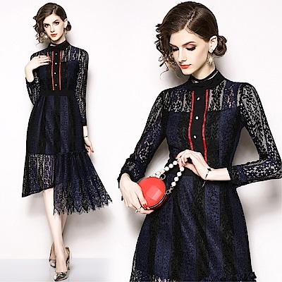 DABI 歐美風時尚收腰顯瘦蕾絲拼接長袖洋裝