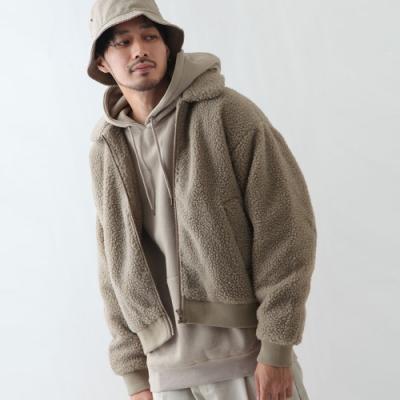 絨毛長袖外套高爾夫夾外套(5色) -ZIP日本男裝