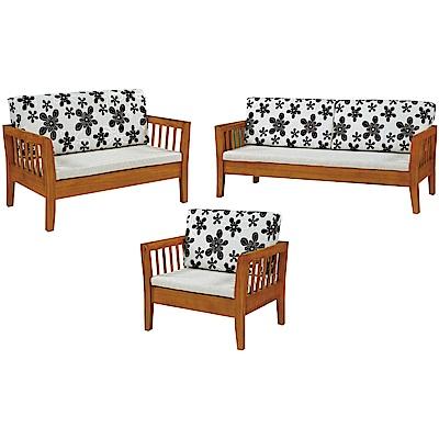 綠活居 麥尼典雅風亞麻布實木沙發椅組合(1+2+3人座)