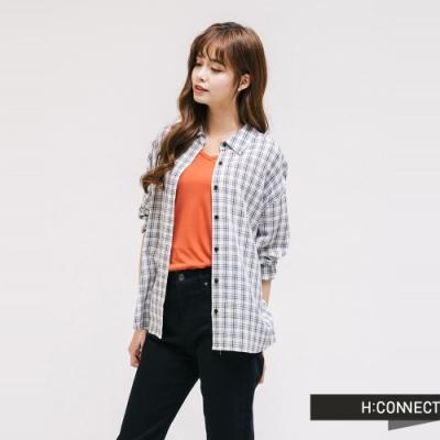 H:CONNECT 韓國品牌 女裝 - 清新細格紋襯衫-白