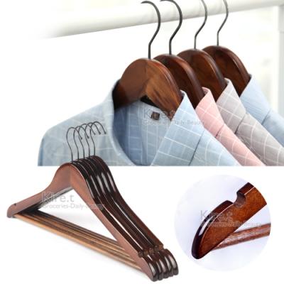 超值加大 深色防滑原木衣架 實木加桿防滑手工衣架-超值10入組贈衣架連接條kiret