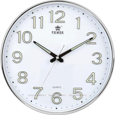 POWER霸王鐘錶-高品質螢光立體數字靜音掛鐘-絢麗銀-PW-8330-WWLKST-34.3CM