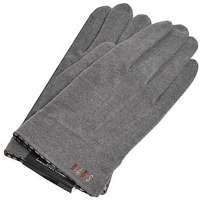 DAKS 日本製科技纖維格紋滾邊彩色刺繡字母LOGO手套(灰色系)