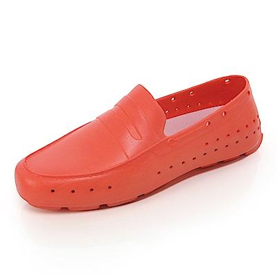 (女)Ponic&Co美國加州環保防水洞洞懶人鞋-橘紅