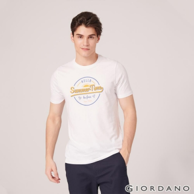 GIORDANO 男裝SUN AND SEA系列印花短袖T恤-21 標誌白