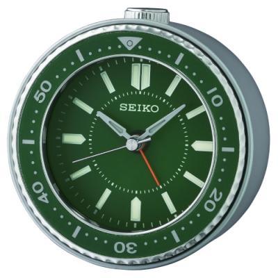 SEIKO 日本精工 綠水鬼 滑動式秒針 貪睡 鬧鐘(QHE184M)綠/9.5X9.4cm