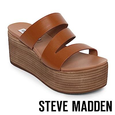 STEVE MADDEN HALLY 真皮革心機增高木質拖鞋-咖啡