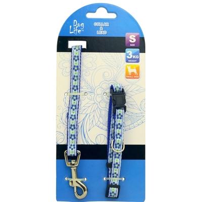 【Dog Life】寵物犬用厚尼龍材質牽繩-S 藍色小花款