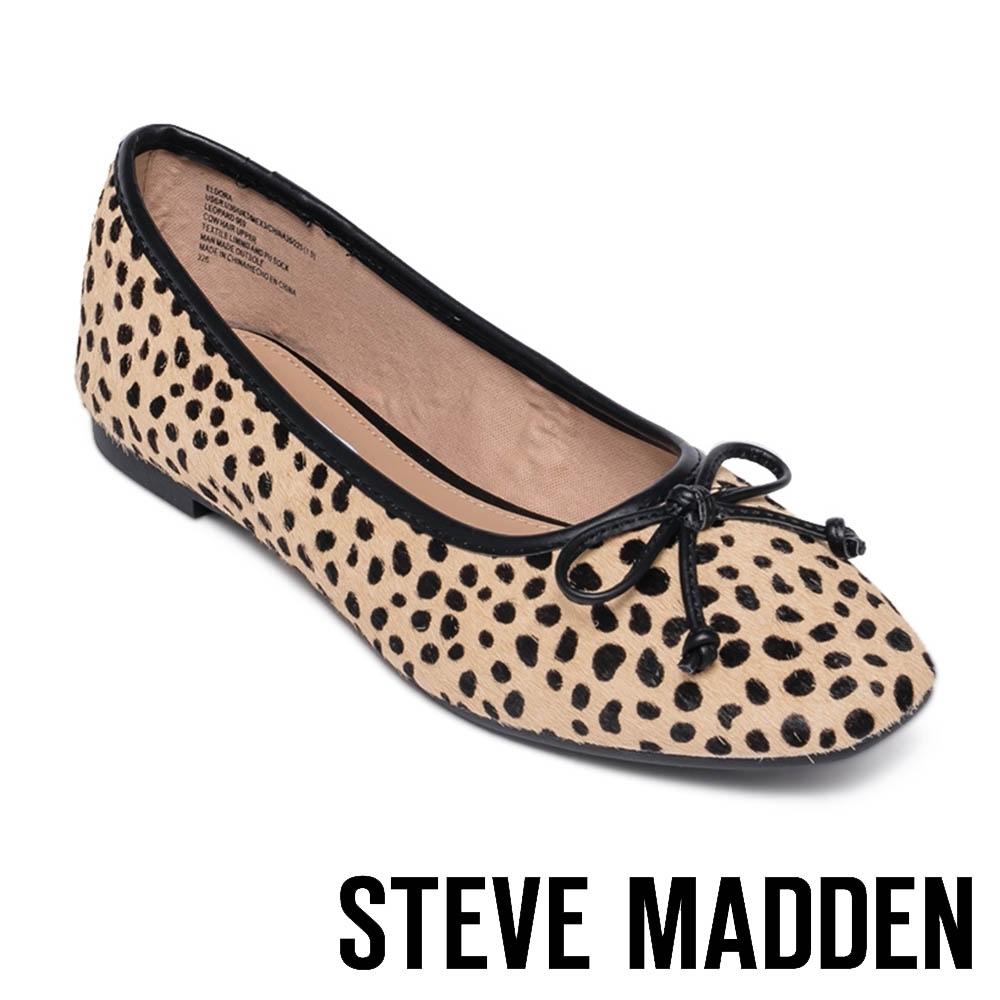 STEVE MADDEN-ELDORA 氣質款 蝴蝶結漆皮平底女鞋-豹紋